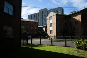 Smaller properties in the neighbourhood, with Banks building in the background