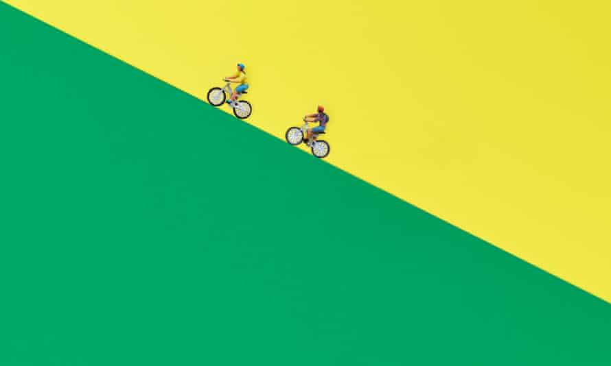 Illustration of two bikes going uphill
