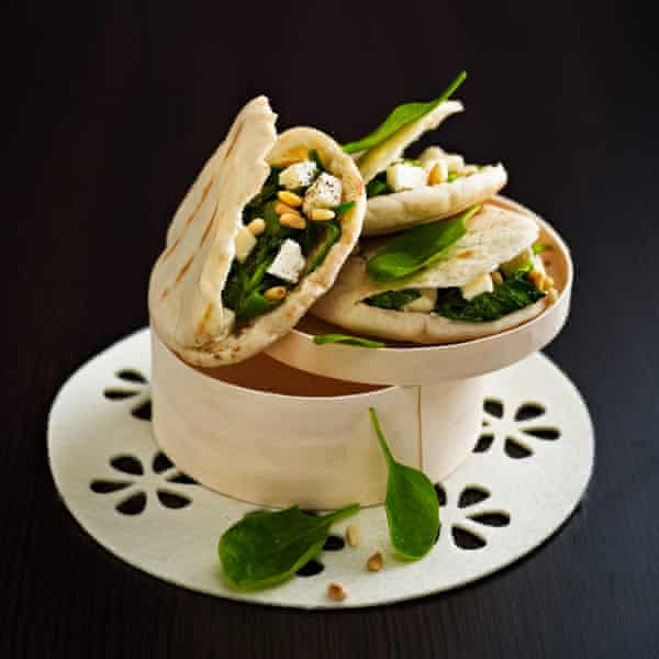 Pitta with buttery spinach and feta.