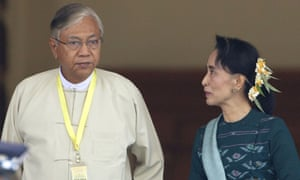 Htin Kyaw, the newly elected president of Myanmar, with Aung San Suu Kyi
