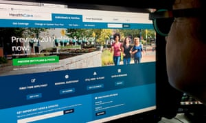 This October 25, 2016 photo shows a woman looking at the Healthcare.gov internet site in Washington, DC. Americans will see Obamacare health insurance costs jump an average of 25 percent next year, adding fuel to the US political firestorm over the system that Republicans have repeatedly tried to overturn. The big increase will be seen in the 38 states with federally-managed health care exchanges, according to a report released late October 24, 2016 by the Department of Health and Human Services. / AFP PHOTO / Karen BLEIERKAREN BLEIER/AFP/Getty Images