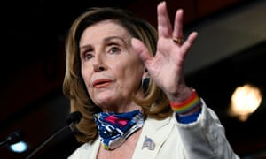 Nancy Pelosi rebuked Trump after he called to end stimulus talks over a pandemic relief package.