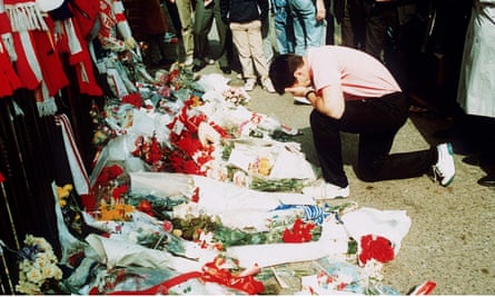 A shrine to the 96 at Hillsborough in the aftermath of the disaster on 15 April 1989.