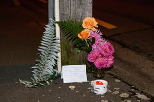 A floral tribute on Linwood Avenue near the Linwood mosque