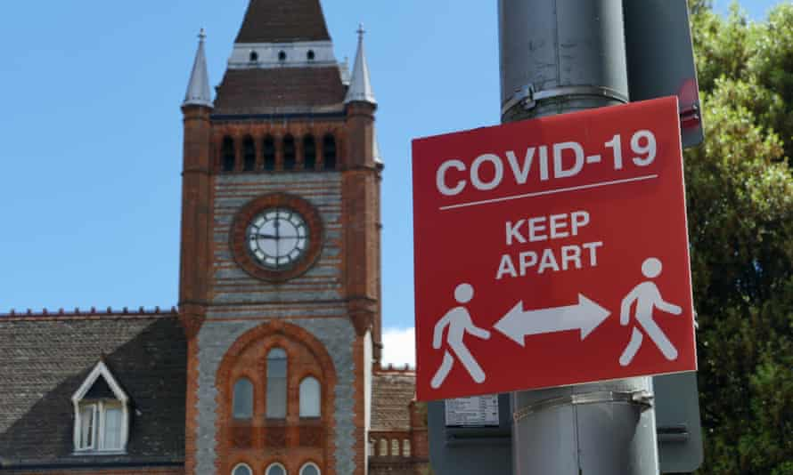 Signs are seen outside a new Covid testing centre at Reading town hall