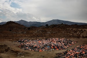 Discarded life vests photographed at Molyvos on Lesbos. In 2015, during the height of the refugee crisis, thousands of vests used for the treacherous crossing were unloaded here.