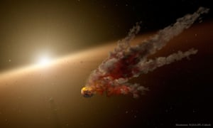 An artist's impression of a disintegrating planet around the star KIC 8462852.