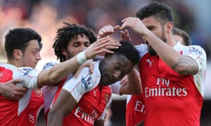 Danny Welbeck is congratulated on scoring for Arsenal against Norwich
