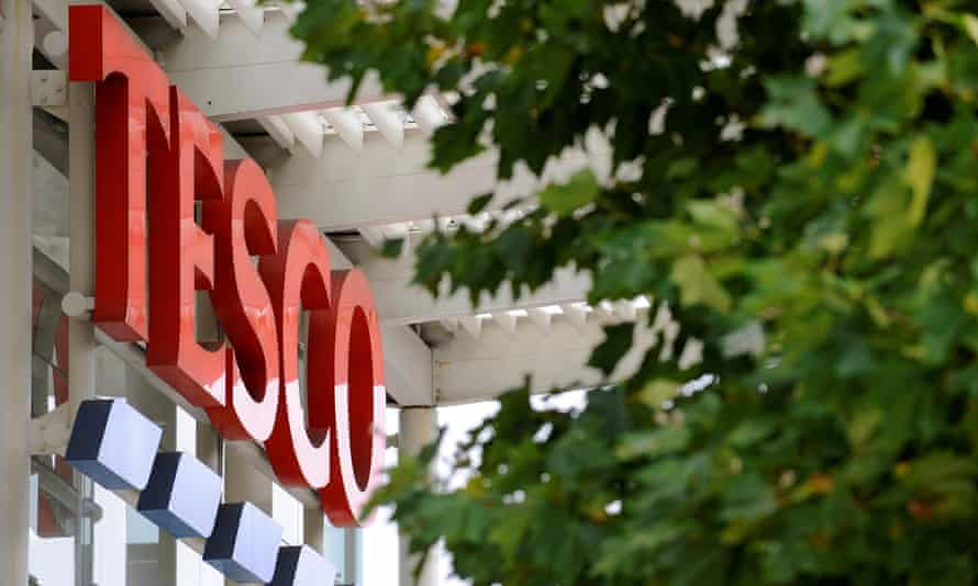 A Tesco logo at a London store