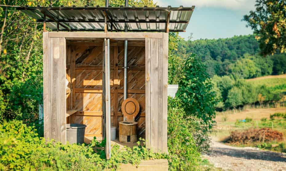 a composting toilet on an ecological farm.
