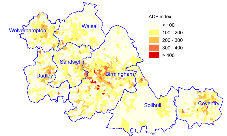 Distribution of fire incidents in the West Midlands (Sept 2010-August 2013).