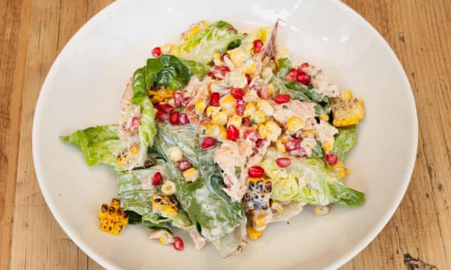'The glint of pomegranate seeds': smoked salmon salad.