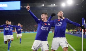 Leicester City's James Maddison celebrates scoring their second goal with fellow goalscorer Jamie Vardy