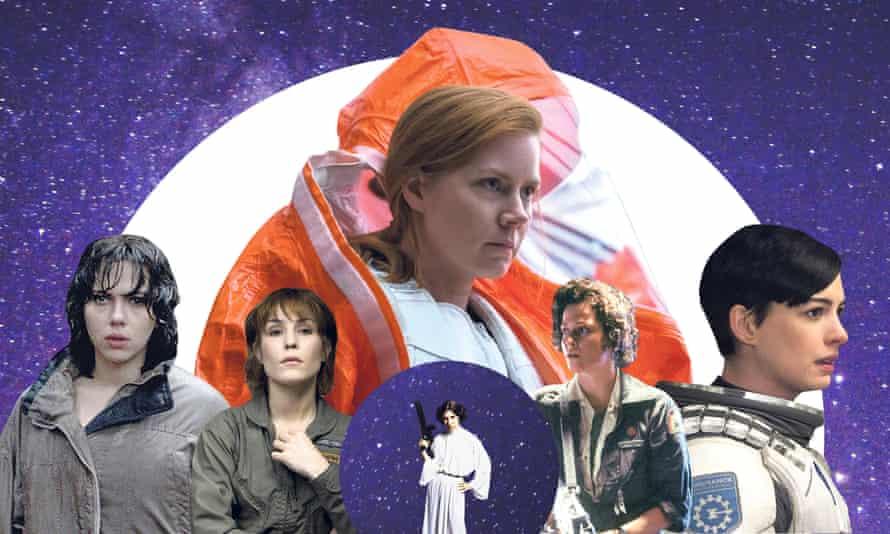 Amy Adams in Arrival (top); Anne Hathaway in Interstellar; Sigourney Weaver in Alien; Carrie Fisher in Star Wars; Noomi Rapace in Prometheus; Scarlett Johansson in Under the Skin.