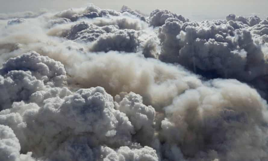 A pyrocumulonimbus storm cloud forms over fire-affected areas near the NSW and Victoria border on 10 January 2020