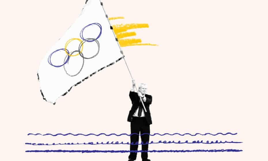 Boris Johnson waves the Olympic flag during the handover ceremony at the 2008 Games in Beijing, China.