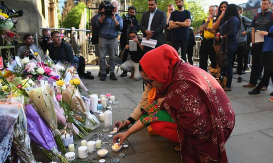A candlelit vigil to honour the victims of the terror attack at Albert Square, Manchester, on 23 May.