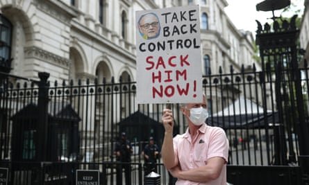 A protester outside Downing Street.