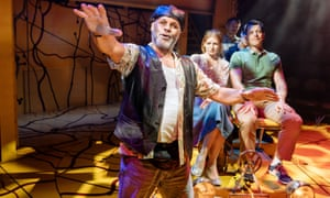 Gary Wilmot as Grandpa (front) in Little Miss Sunshine at Arcola theatre, London