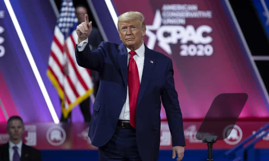 Donald Trump greets the crowd after speaking at Conservative Political Action Conference, in Oxon Hill, Maryland, 29 February 2020.