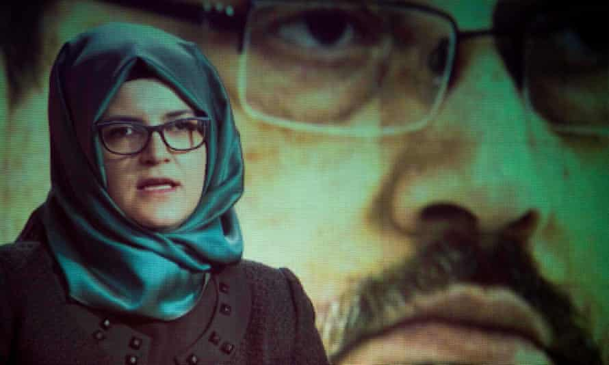Hatice Cengiz, fiancee of the late Jamal Khashoggi, delivers a prerecorded message at a ceremony on 2 November in Washington, DC.