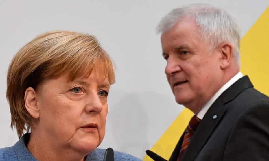 The German chancellor, Angela Merkel, and Horst Seehofer, leader of the CDU's Bavarian sister party CSU.