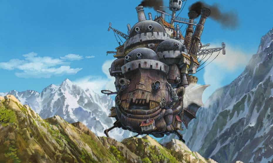 A still from the Studio Ghibli film adaptation of Diana Wynne Jones' book Howl's Moving Castle.