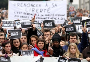 A march in Nantes to pay tribute to victims of the Charlie Hebdo terrorist attacks.