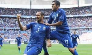 Italy's Giorgio Chiellini, left, celebrates scoring against Spain with Éder in the last 16 Euro 2016 game in Paris.