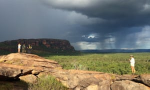 A rainstorm rolls in over Nourlangie Rock, seen from Nawurlandja lookout