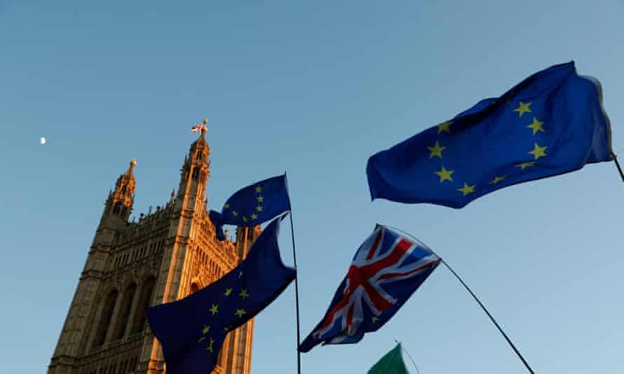 EU and UK flags in front of Westminster