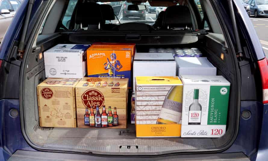 A car boot loaded with cheap beer and wine
