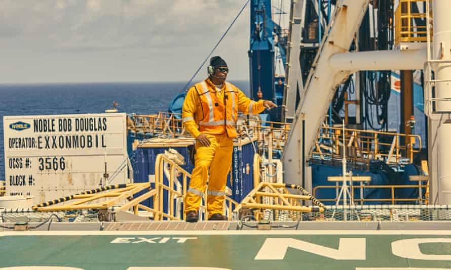 The Bob Douglas drill ship operated by Noble Energy for ExxonMobil floats 120 miles offshore of Guyana in 2018. It was drilling the first production oil well in Guyana's history.
