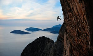 A fall on a steep limestone route on the Greek Islands.