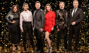 Let it Shine … (from left) Amber Riley, Mel Giedroyc, Gary Barlow, Dannii Minogue, Graham Norton and Martin Kemp.