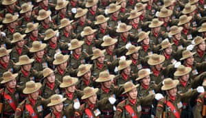 New Delhi, India: Soldiers march during a dress rehearsal for the upcoming Indian Republic Day parade