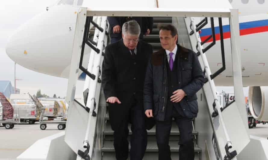 Sergei Naryshkin, right, arrives in Geneva to attend an international meeting on Monday.
