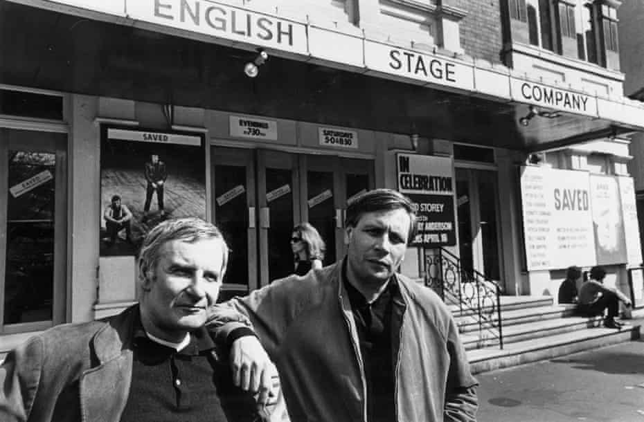 With director Lindsay Anderson outside the Royal Court theatre, 1969.