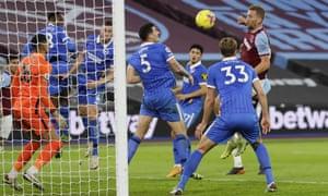 West Ham's Tomas Soucek, right, scores his side's second goal.