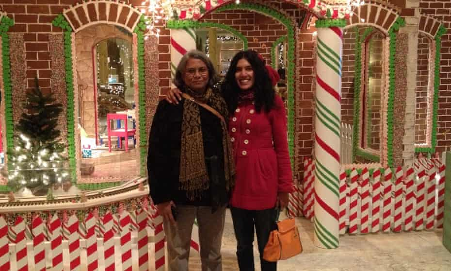 Janaki and her daughter Indu in front of the Gingerbread house in Fairmont Hotel, San Francisco, 2013