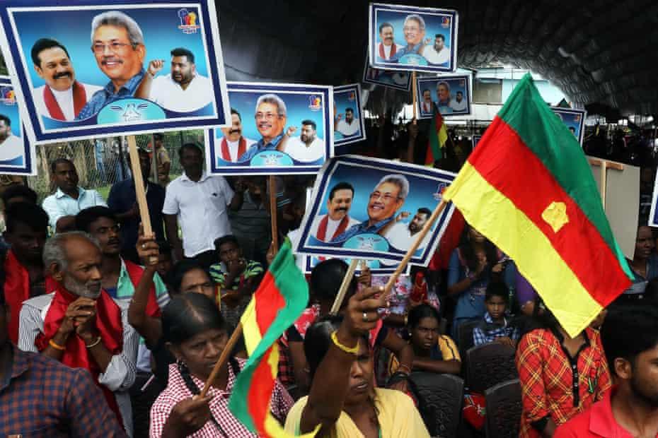 Sri Lanka Podujana Peramuna (SLPP) supporters cheer during presidential candidate and former defense secretary Gotabaya Rajapaksa's election rally at Jaffna, 399kms from Colombo, Sri Lanka, 28 October 2019.