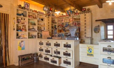 The 1950s grocery shop at the chestnut museum in Mourjou, housed in a building that had previously been Peter Graham's barn.