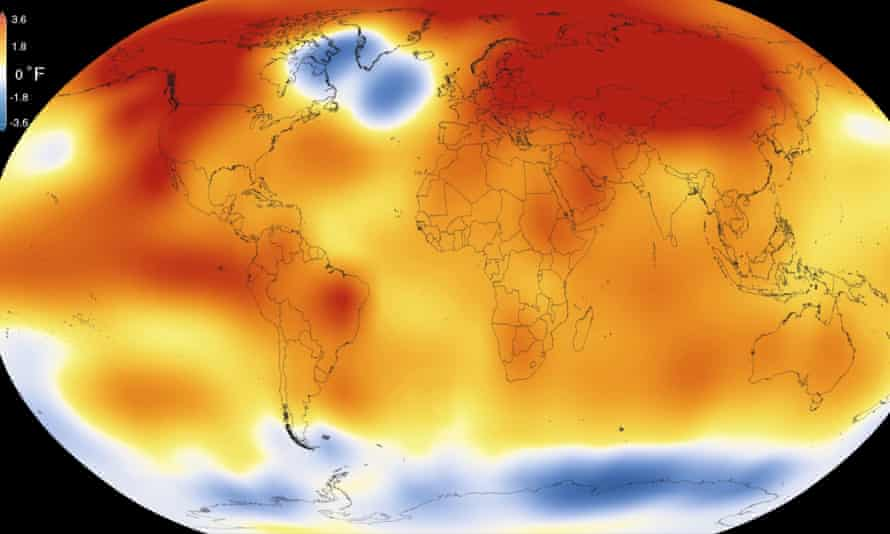 This illustration obtained from NASA on January 20, 2016 shows that 2015 was the warmest year since modern record-keeping began in 1880.