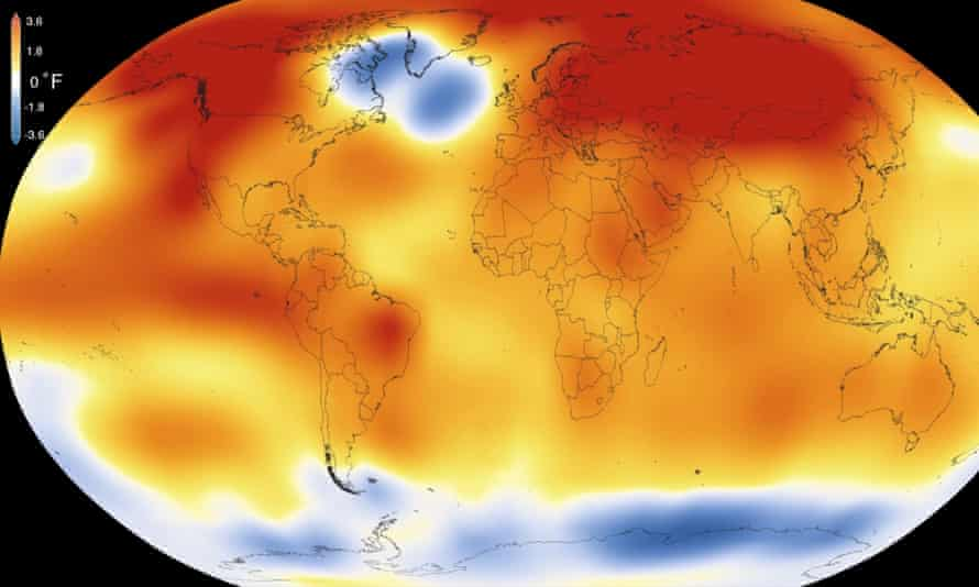 An illustration shows that 2015 was the hottest year since 1880.