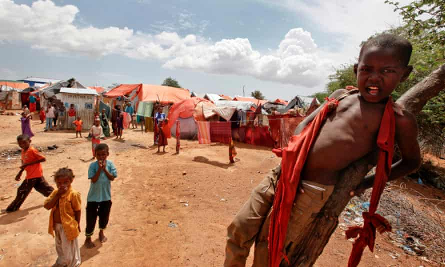 Somali children repatriated from Kenya's Dadaab camp play in a camp for displaced people in Mogadishu