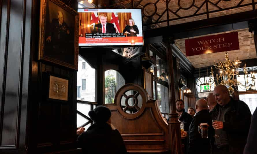 Boris Johnson's is shown at a pub in central London.