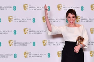 Olivia Colman with the award for a Leading Actress for her work on the film The Favourite