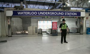 Waterloo underground station closed during the strike on Monday