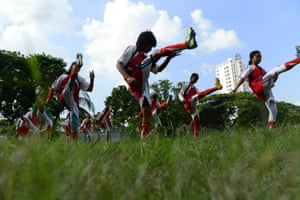 Pre-match limbering up in Dhaka