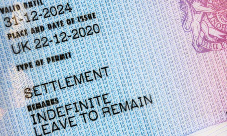 An indefinite leave to remain visa card.